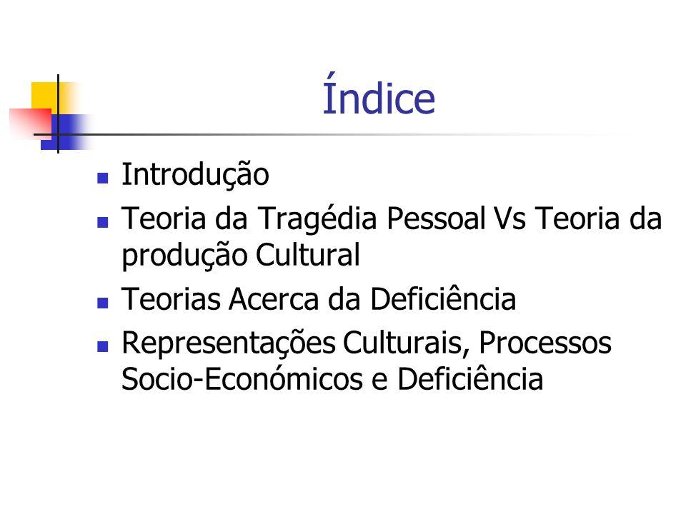 Índice Introdução. Teoria da Tragédia Pessoal Vs Teoria da produção Cultural. Teorias Acerca da Deficiência.