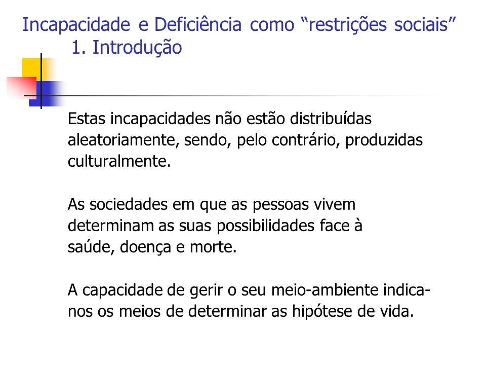 Incapacidade e Deficiência como restrições sociais 1. Introdução