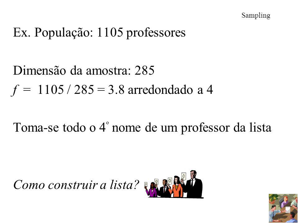 Ex. População: 1105 professores Dimensão da amostra: 285