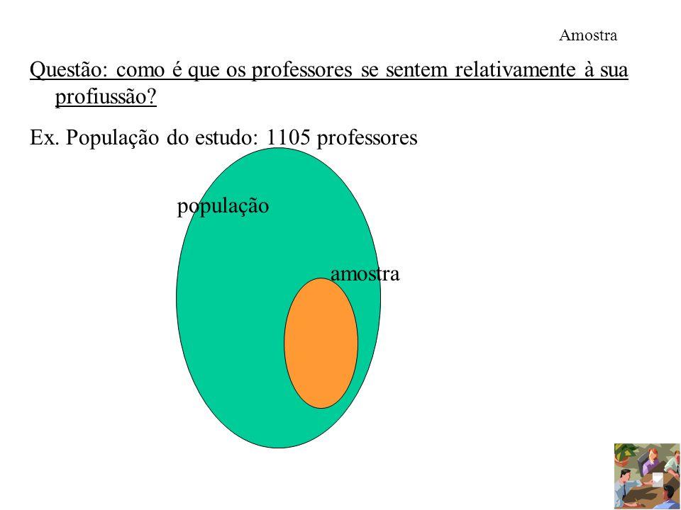 Ex. População do estudo: 1105 professores