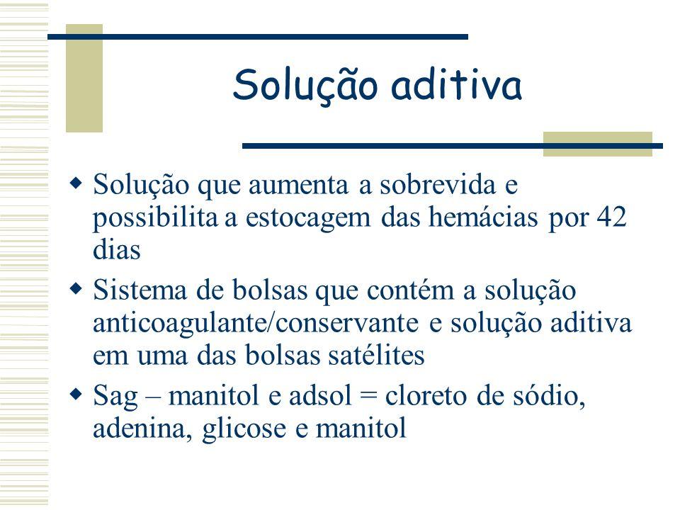 Solução aditivaSolução que aumenta a sobrevida e possibilita a estocagem das hemácias por 42 dias.