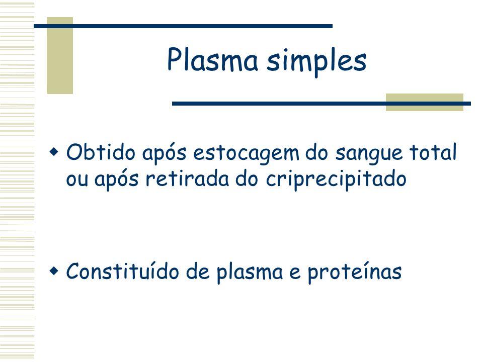 Plasma simples Obtido após estocagem do sangue total ou após retirada do criprecipitado.