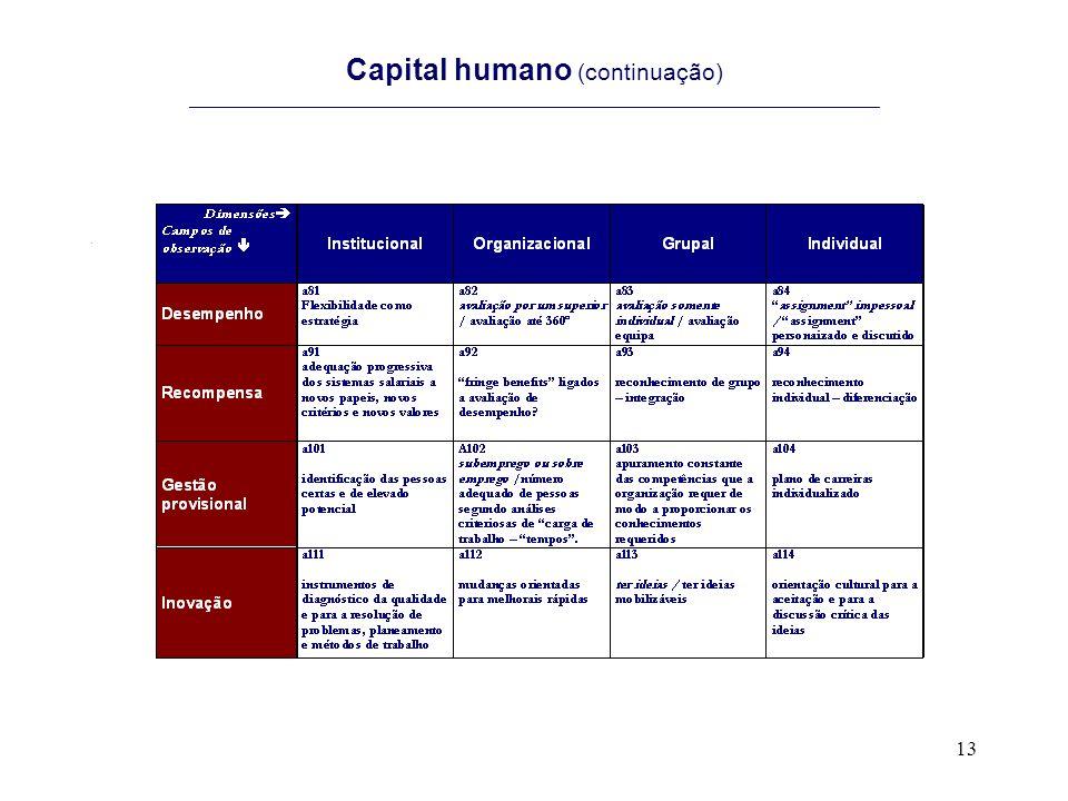 Capital humano (continuação) ______________________________________________________________________