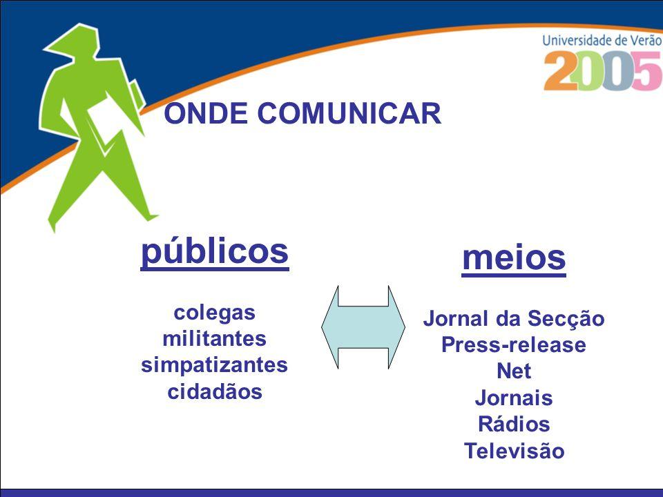 públicos meios ONDE COMUNICAR colegas Jornal da Secção militantes