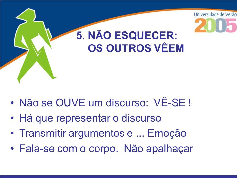 5. NÃO ESQUECER: OS OUTROS VÊEM. Não se OUVE um discurso: VÊ-SE ! Há que representar o discurso.