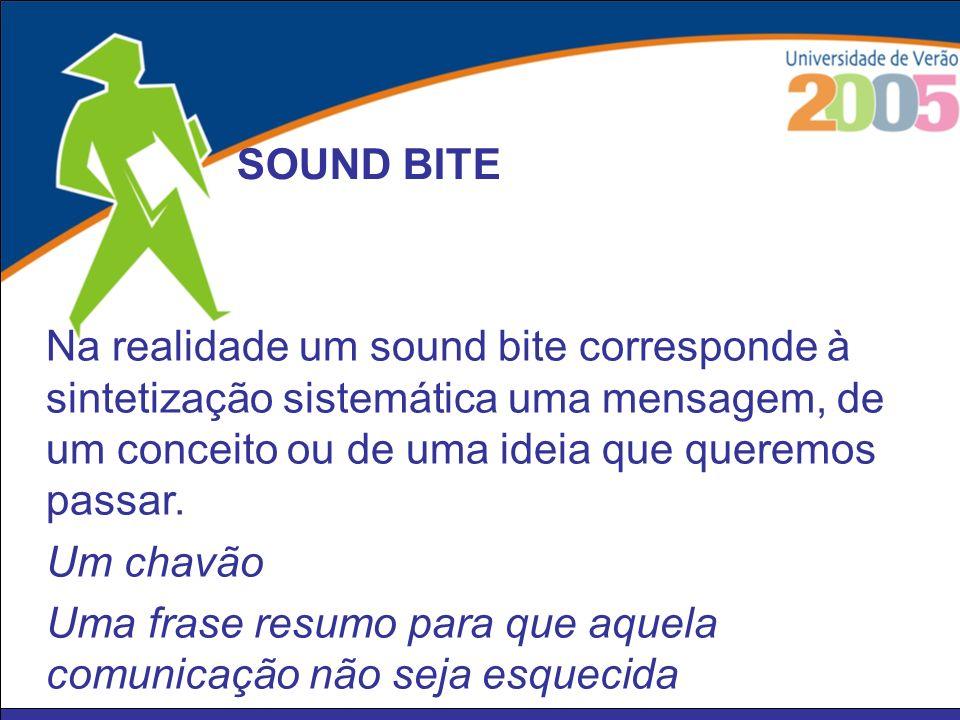 SOUND BITE Na realidade um sound bite corresponde à sintetização sistemática uma mensagem, de um conceito ou de uma ideia que queremos passar.