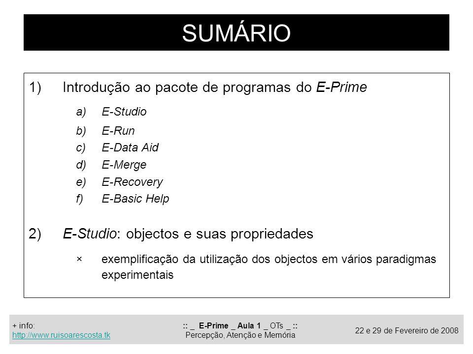 :: _ E-Prime _ Aula 1 _ OTs _ :: Percepção, Atenção e Memória