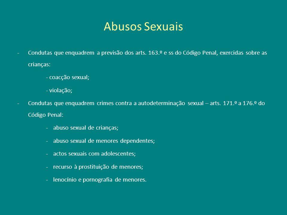 Abusos Sexuais Condutas que enquadrem a previsão dos arts. 163.º e ss do Código Penal, exercidas sobre as crianças:
