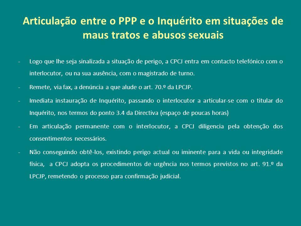 Articulação entre o PPP e o Inquérito em situações de maus tratos e abusos sexuais