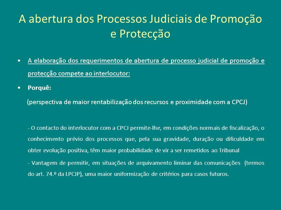 A abertura dos Processos Judiciais de Promoção e Protecção