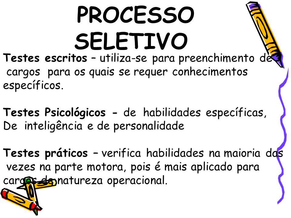 PROCESSO SELETIVO Testes escritos – utiliza-se para preenchimento de