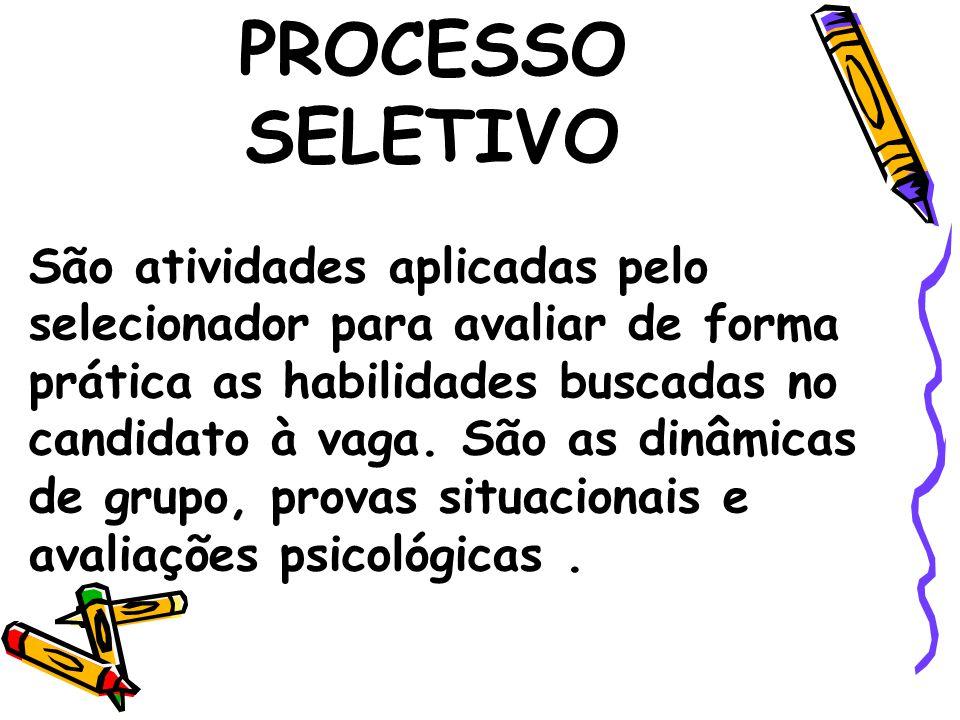 PROCESSO SELETIVO São atividades aplicadas pelo