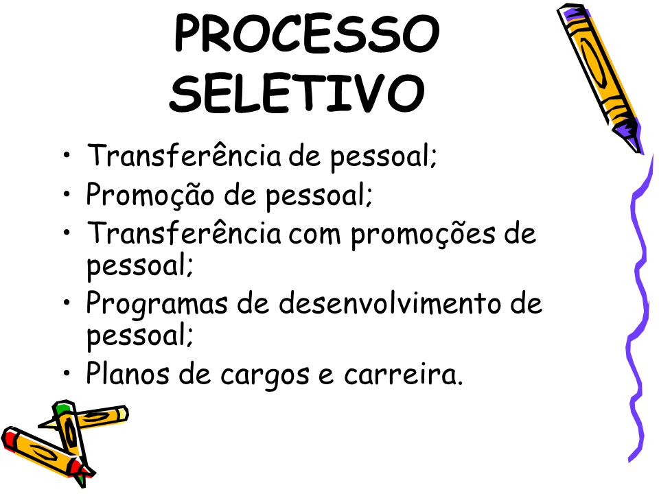 PROCESSO SELETIVO Transferência de pessoal; Promoção de pessoal;