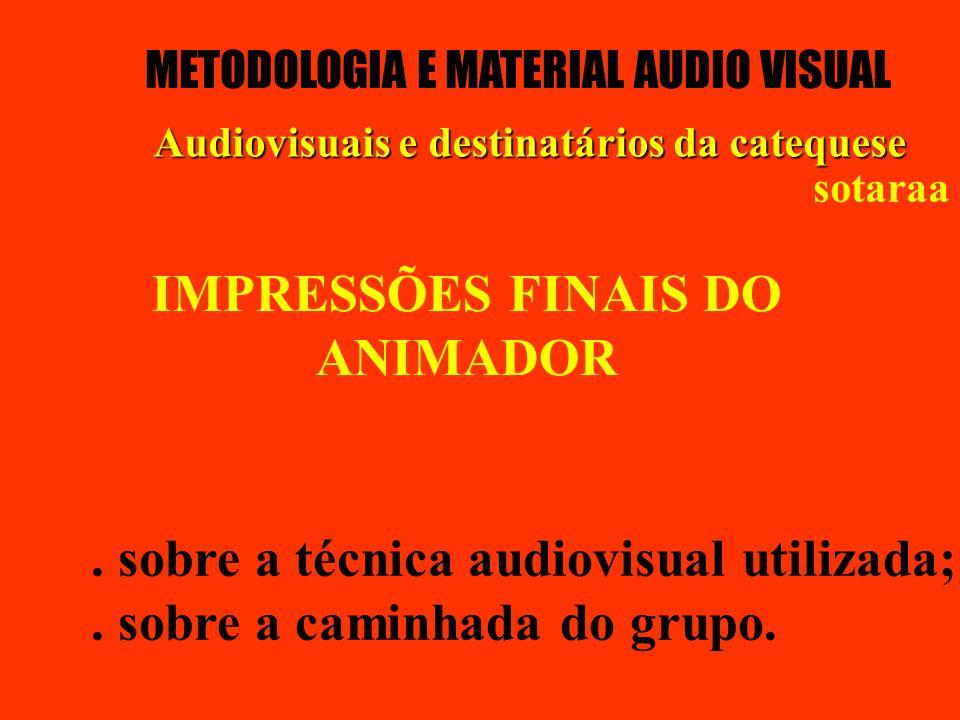 IMPRESSÕES FINAIS DO ANIMADOR