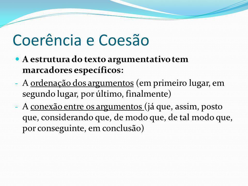 Coerência e Coesão A estrutura do texto argumentativo tem marcadores específicos: