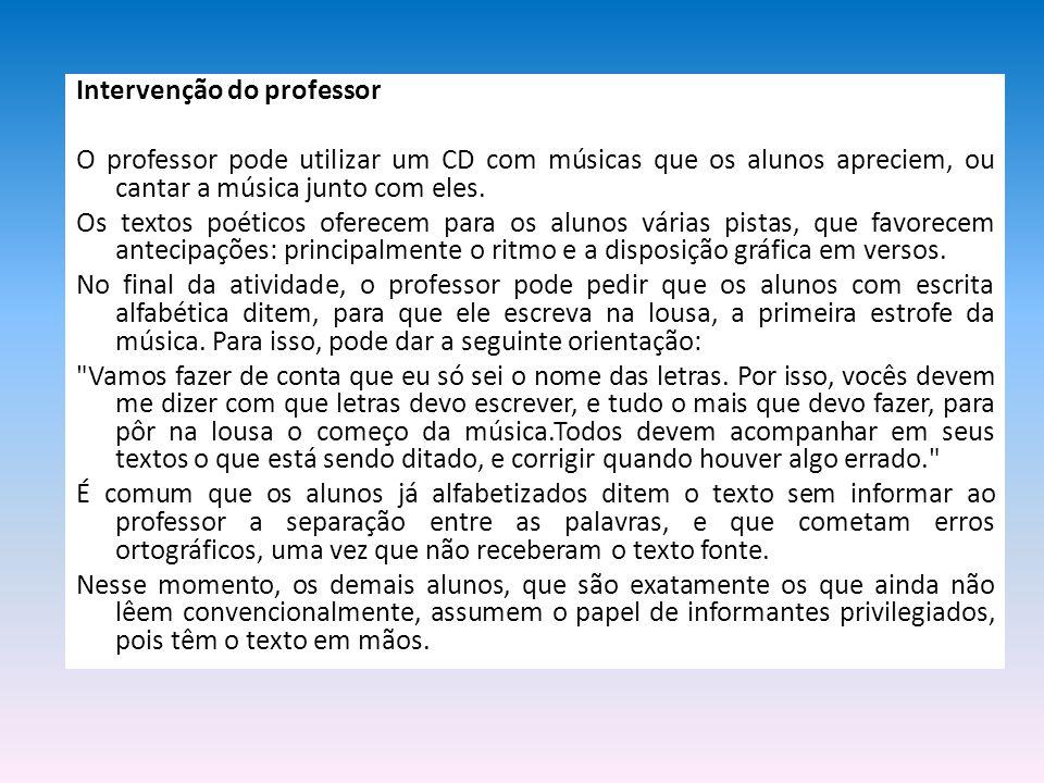 Intervenção do professor
