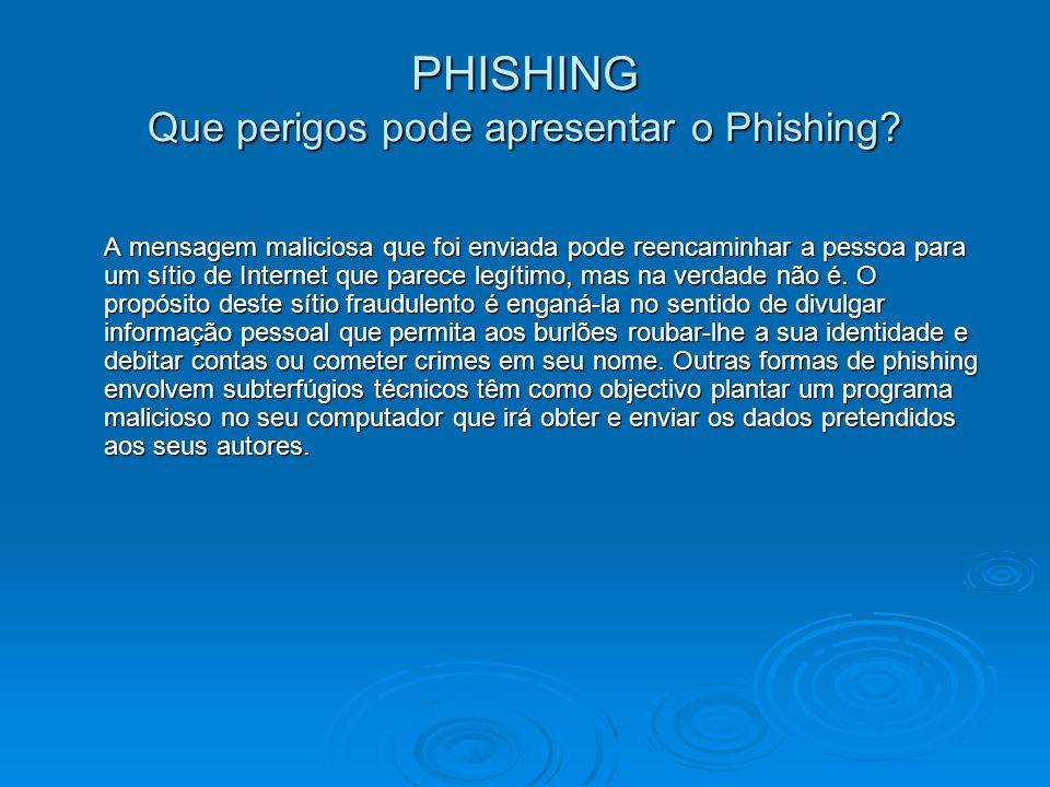 PHISHING Que perigos pode apresentar o Phishing