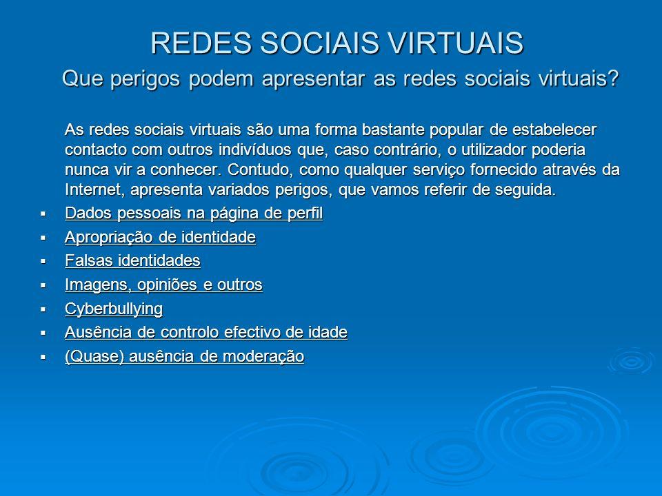 REDES SOCIAIS VIRTUAIS Que perigos podem apresentar as redes sociais virtuais