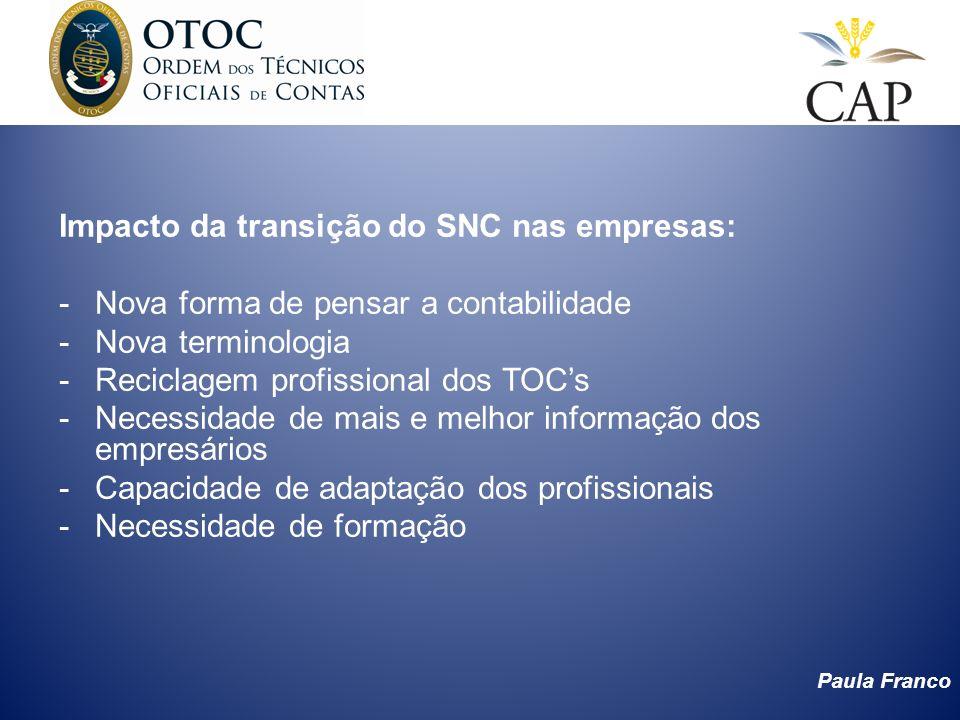 Impacto da transição do SNC nas empresas: