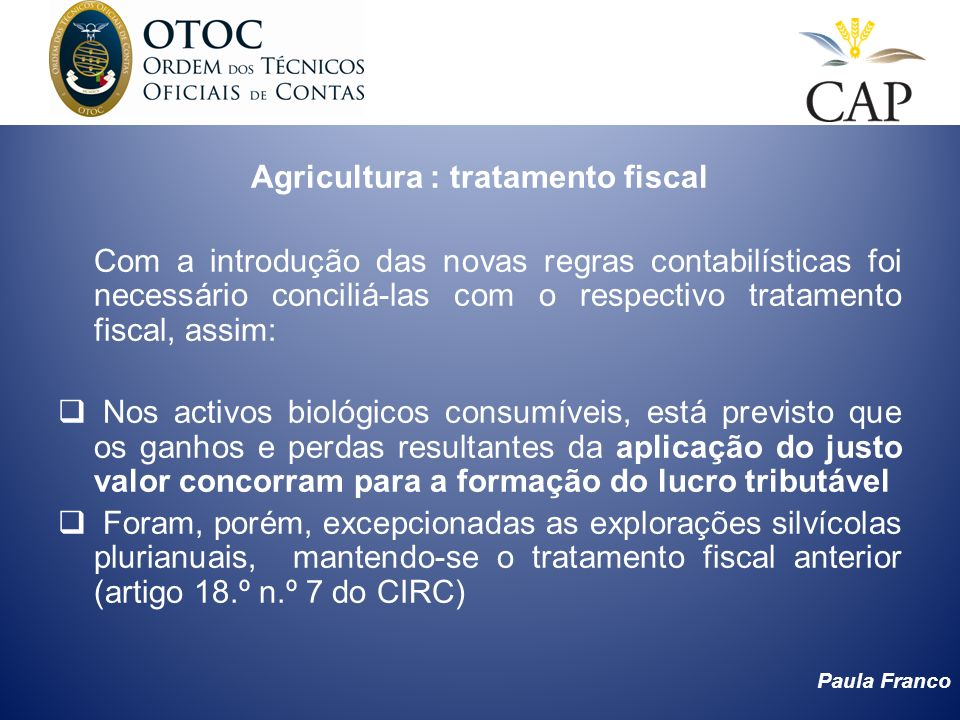 Agricultura : tratamento fiscal