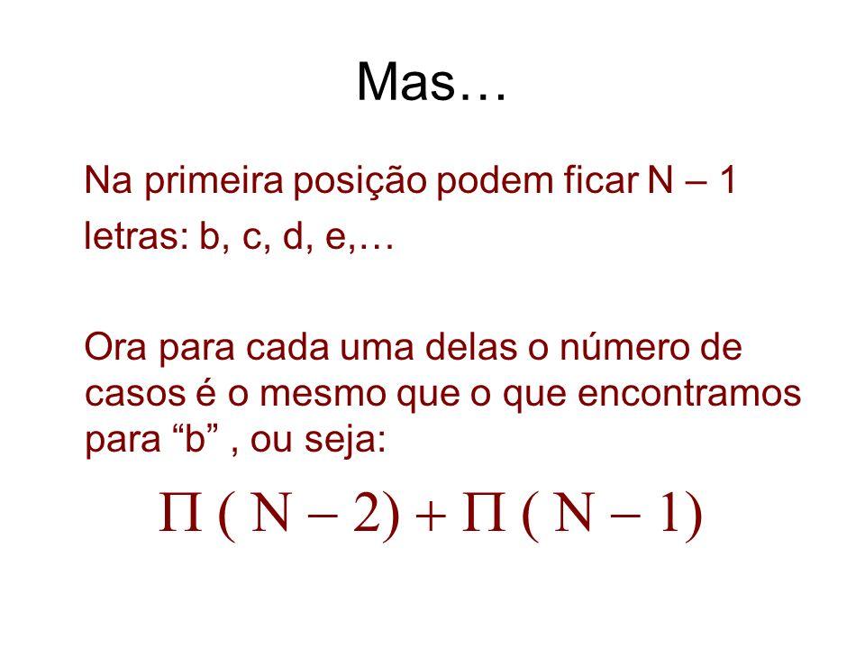 Mas… Na primeira posição podem ficar N – 1 letras: b, c, d, e,…