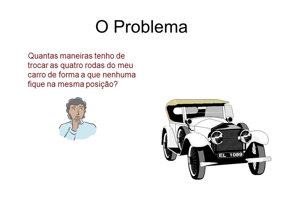 O Problema Quantas maneiras tenho de trocar as quatro rodas do meu carro de forma a que nenhuma fique na mesma posição