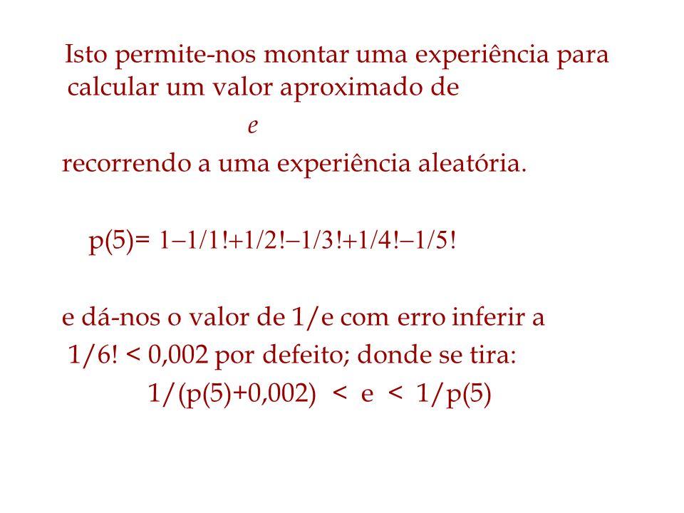 Isto permite-nos montar uma experiência para calcular um valor aproximado de