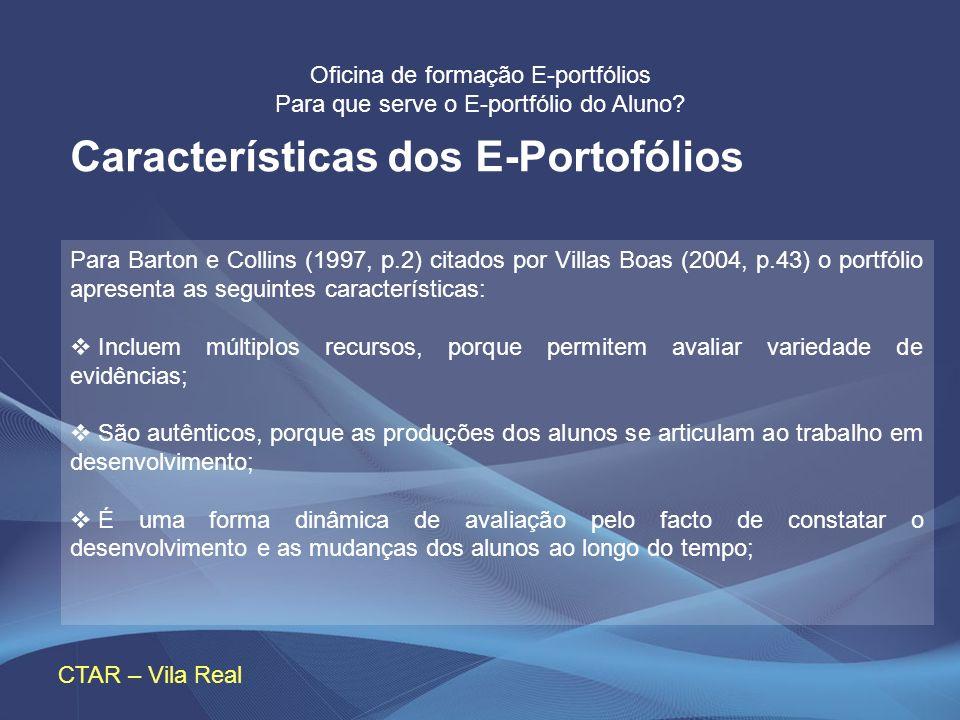 Características dos E-Portofólios