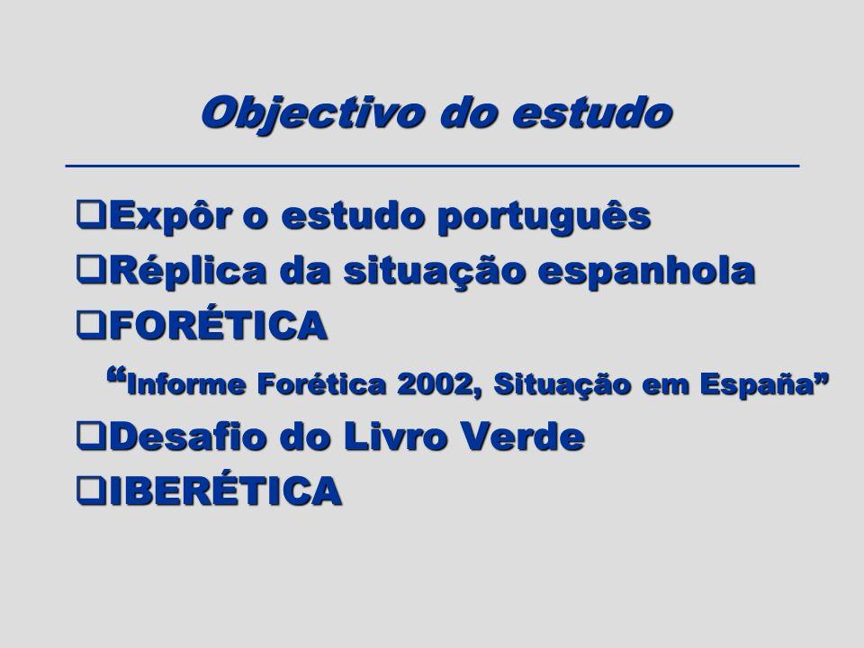 Objectivo do estudo Expôr o estudo português