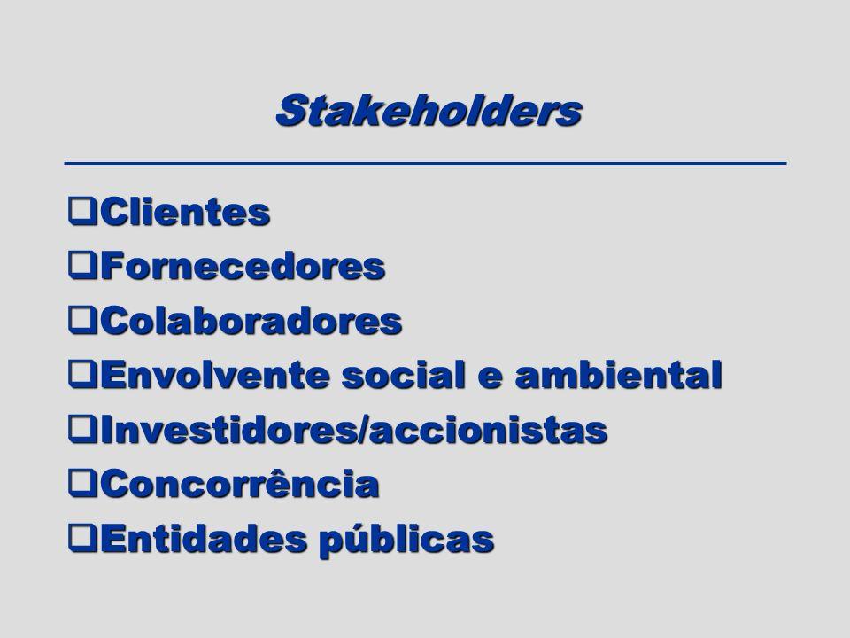 Stakeholders Clientes Fornecedores Colaboradores