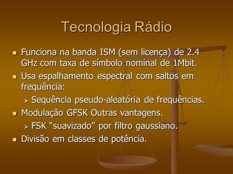 Tecnologia Rádio Funciona na banda ISM (sem licença) de 2.4 GHz com taxa de símbolo nominal de 1Mbit.