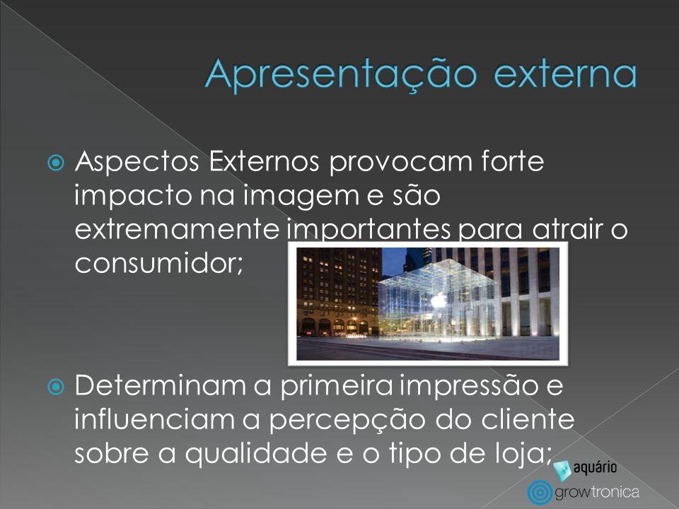 Apresentação externaAspectos Externos provocam forte impacto na imagem e são extremamente importantes para atrair o consumidor;