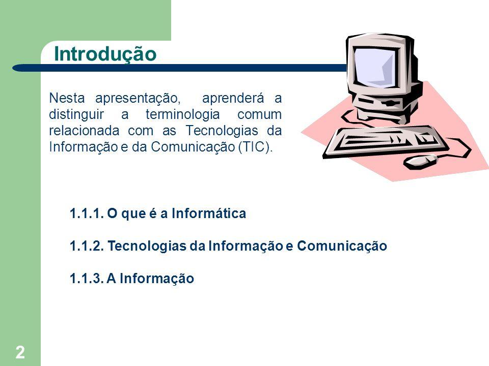 Introdução Nesta apresentação, aprenderá a distinguir a terminologia comum relacionada com as Tecnologias da Informação e da Comunicação (TIC).