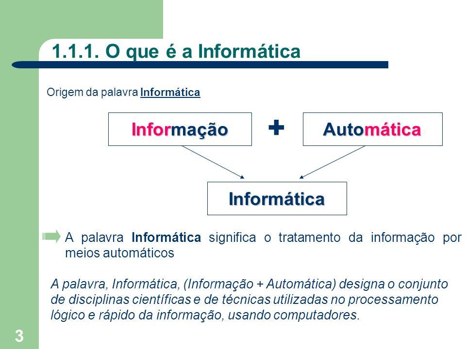 + 1.1.1. O que é a Informática Informação Automática Informática