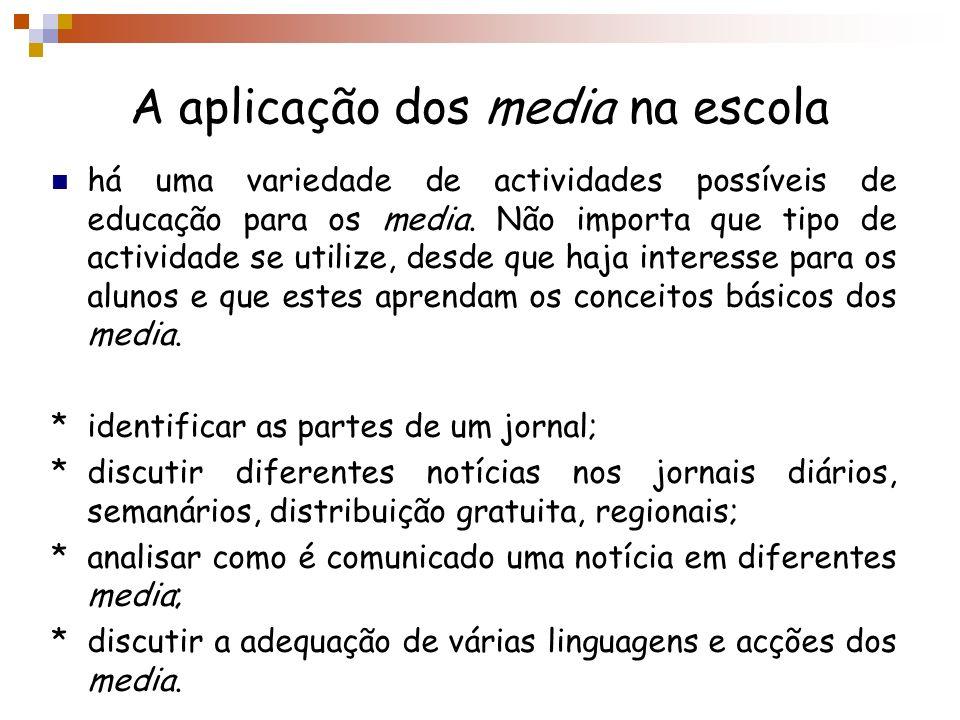 A aplicação dos media na escola