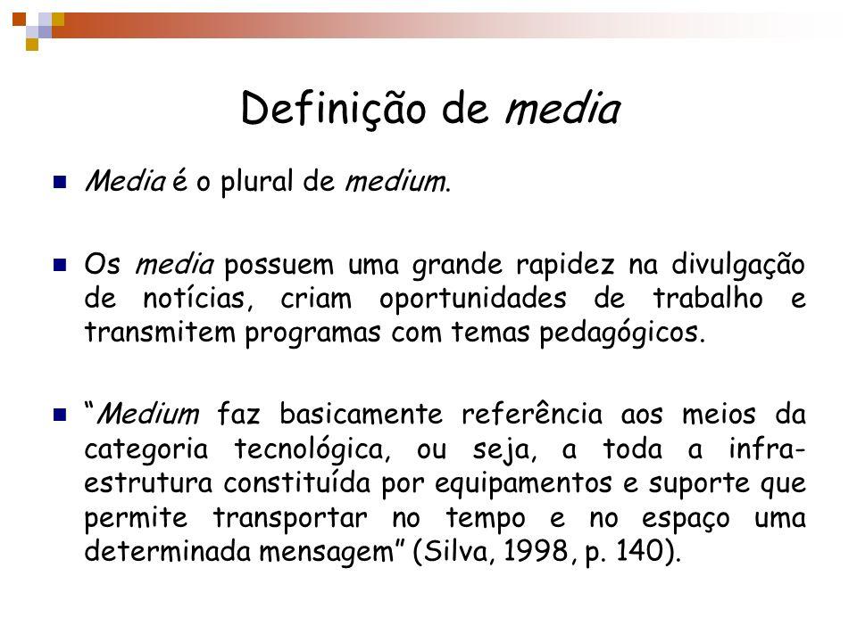 Definição de media Media é o plural de medium.