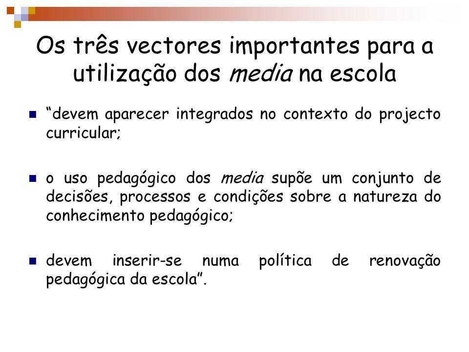 Os três vectores importantes para a utilização dos media na escola