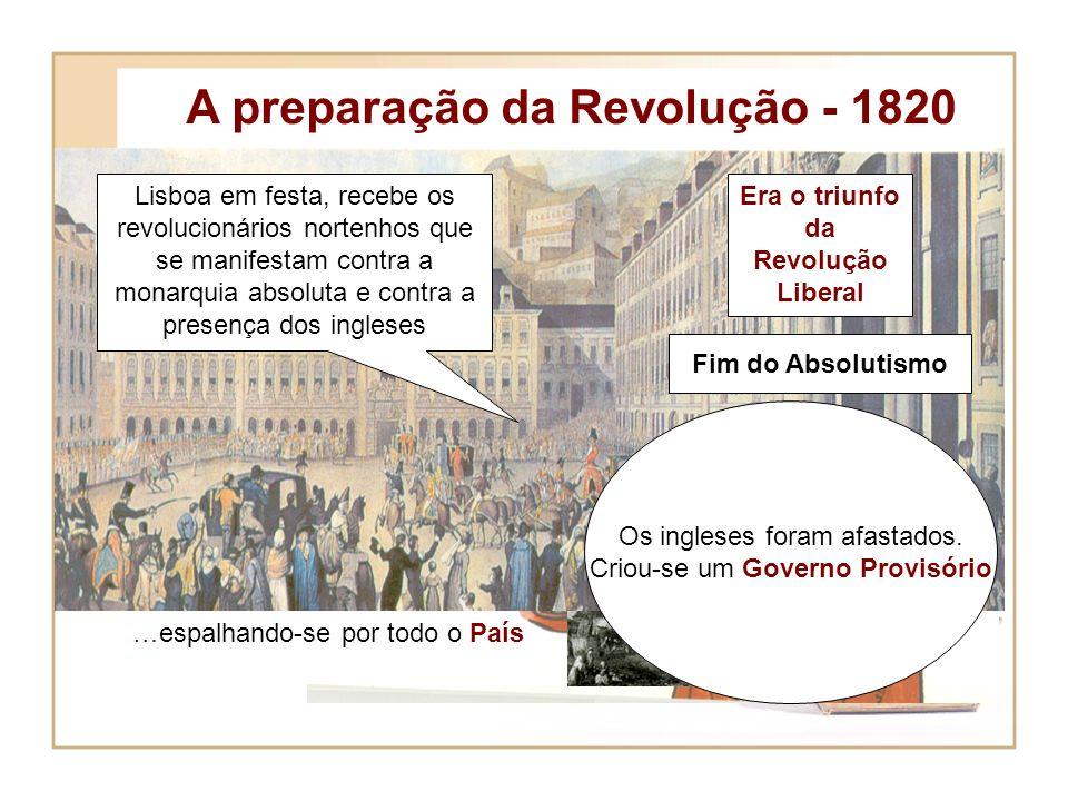 A preparação da Revolução - 1820 Era o triunfo da Revolução Liberal