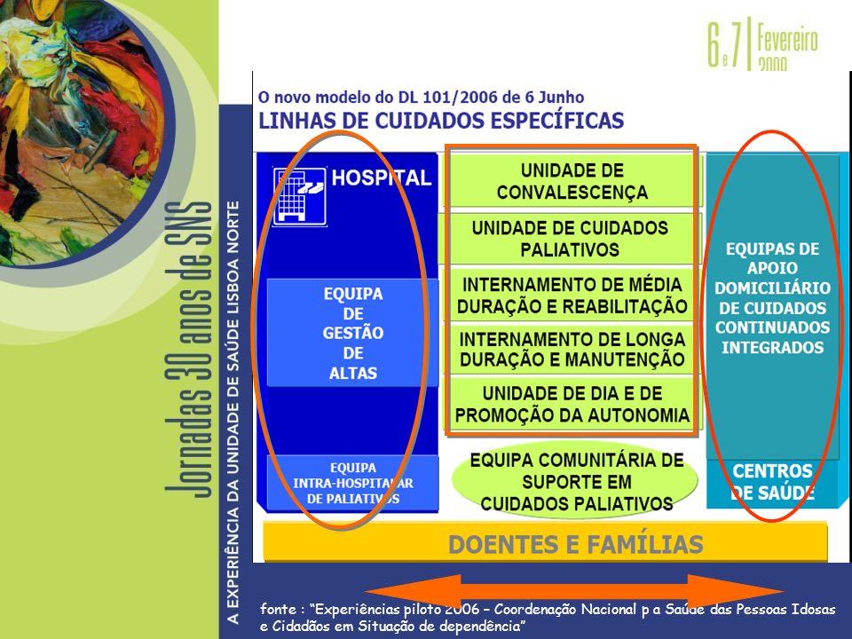 fonte : Experiências piloto 2006 – Coordenação Nacional p a Saúde das Pessoas Idosas e Cidadãos em Situação de dependência