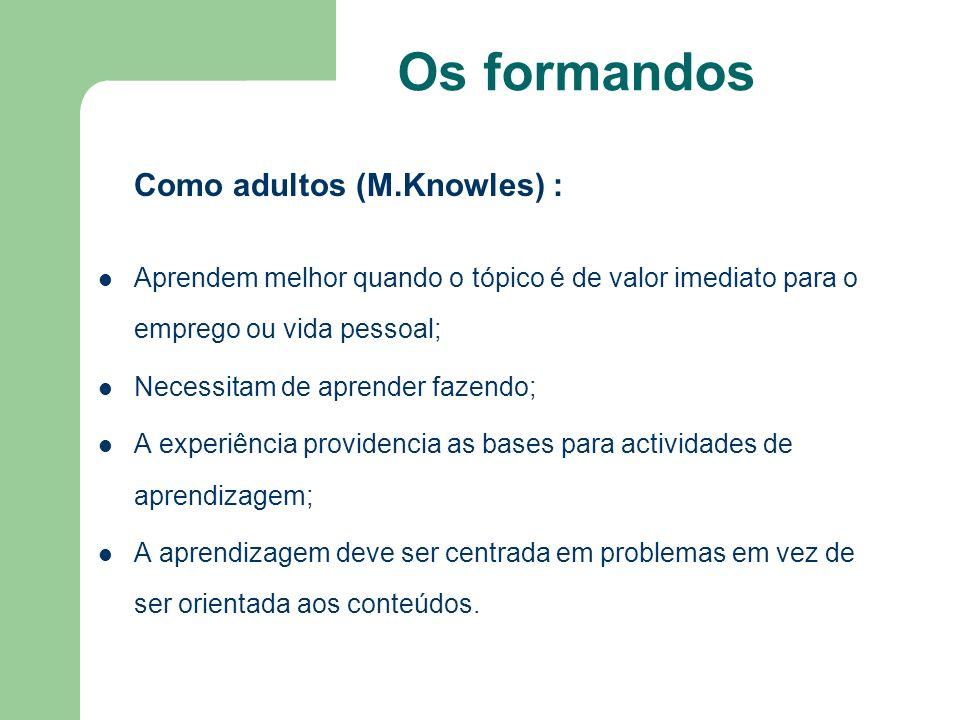 Os formandos Como adultos (M.Knowles) : Aprendem melhor quando o tópico é de valor imediato para o emprego ou vida pessoal;