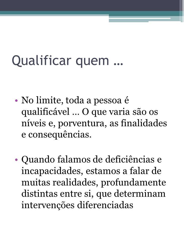Qualificar quem …No limite, toda a pessoa é qualificável … O que varia são os níveis e, porventura, as finalidades e consequências.