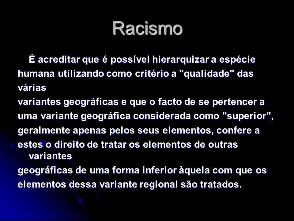 Racismo É acreditar que é possível hierarquizar a espécie