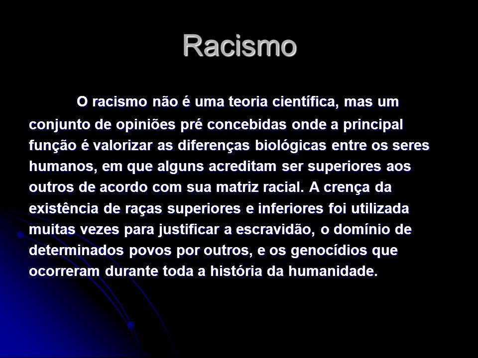Racismo O racismo não é uma teoria científica, mas um