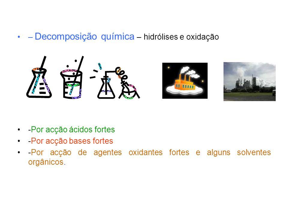 – Decomposição química – hidrólises e oxidação