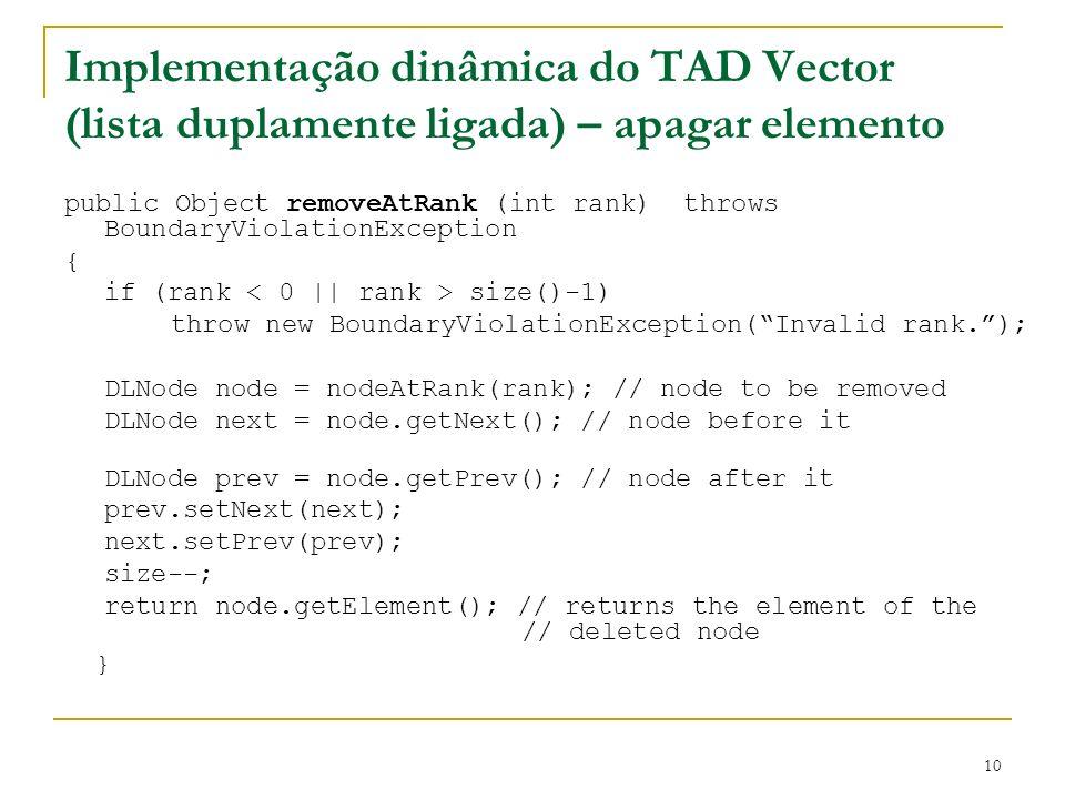 Implementação dinâmica do TAD Vector (lista duplamente ligada) – apagar elemento