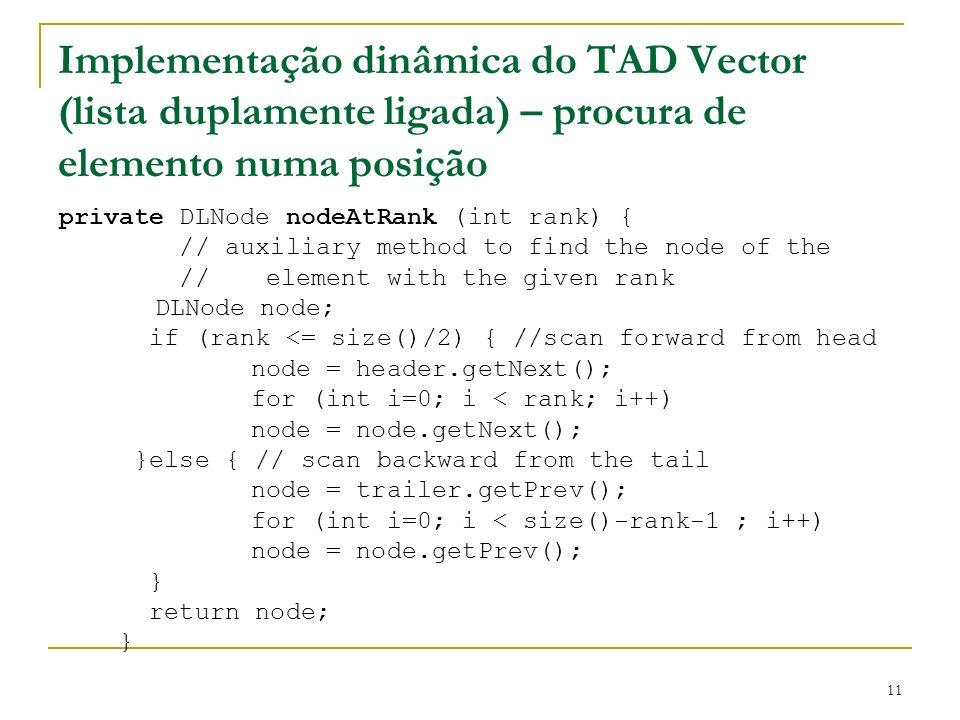 Implementação dinâmica do TAD Vector (lista duplamente ligada) – procura de elemento numa posição