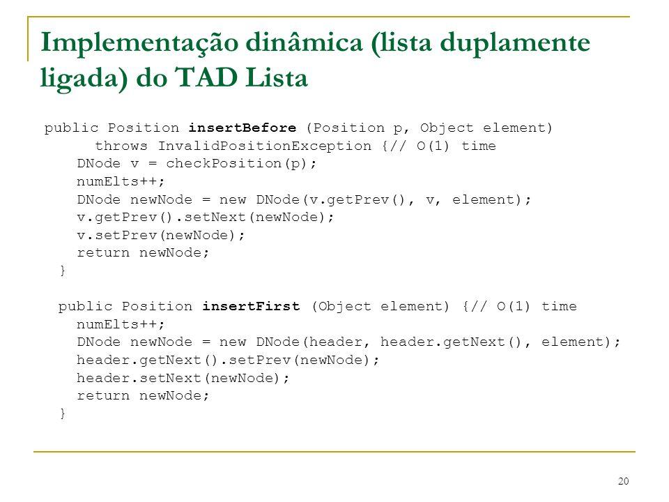 Implementação dinâmica (lista duplamente ligada) do TAD Lista