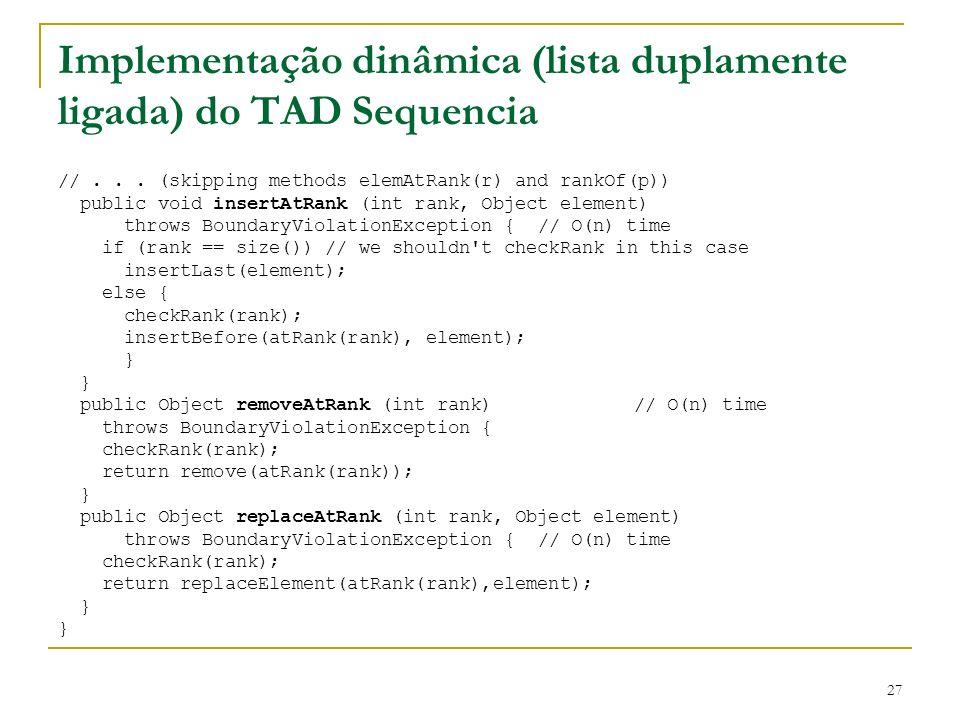 Implementação dinâmica (lista duplamente ligada) do TAD Sequencia
