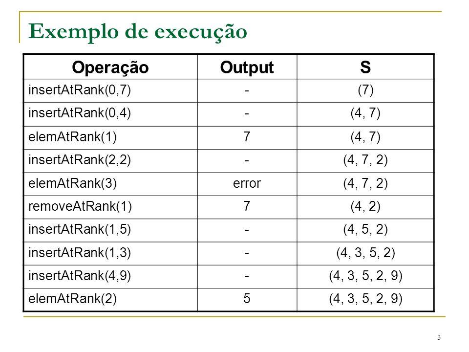 Exemplo de execução Operação Output S insertAtRank(0,7) - (7)