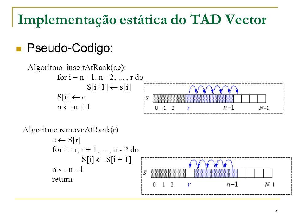 Implementação estática do TAD Vector